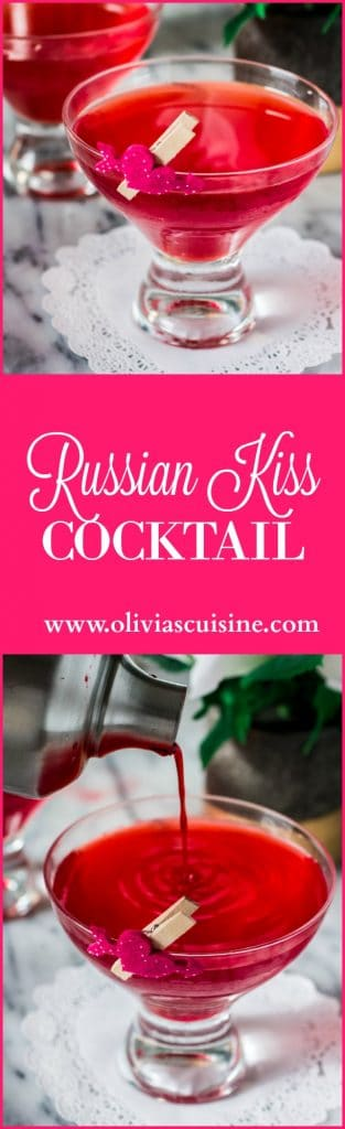 Russian Kiss Cocktail | www.oliviascuisine.com | A romantic vodka cocktail made with cherries, grenadine and club soda!