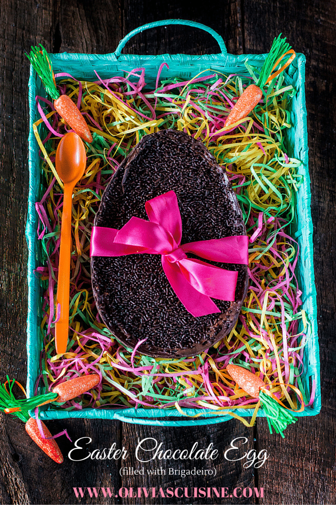 Easter Chocolate Egg (Filled with Brigadeiro) | www.oliviascuisine.com | In Brazil it is common to exchange oversized chocolate eggs for Easter. This version, filled with a creamy and delicious brigadeiro, is my favorite! It is the perfect Easter gift! (Provided you don't devour the whole thing by yourself!).