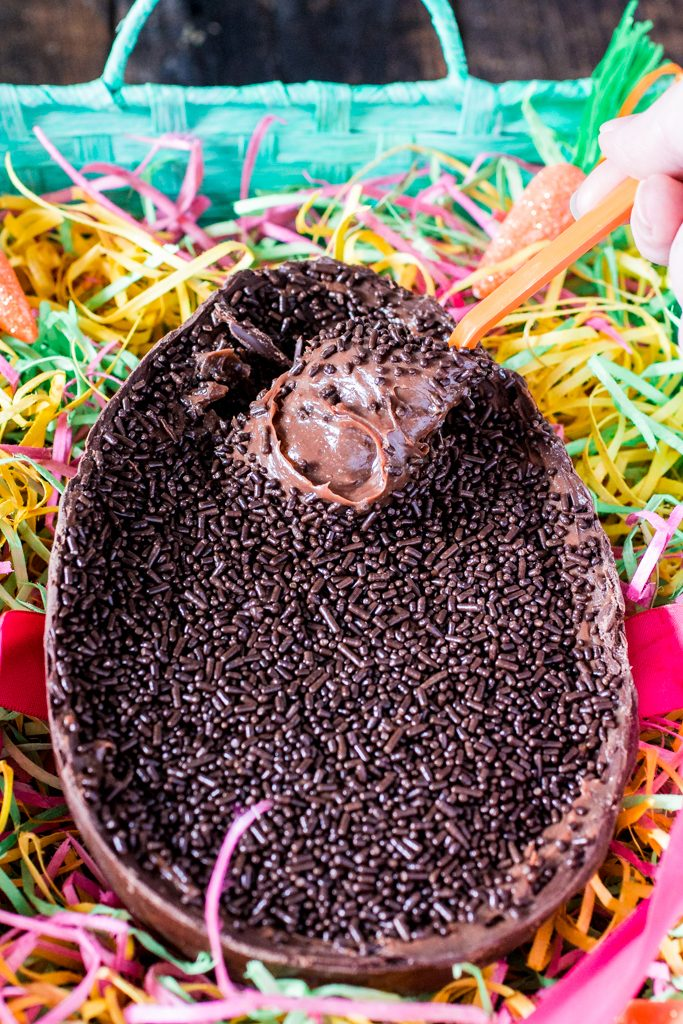Easter Chocolate Egg (Filled with Brigadeiro)   www.oliviascuisine.com   In Brazil it is common to exchange oversized chocolate eggs for Easter. This version, filled with a creamy and delicious brigadeiro, is my favorite! It is the perfect Easter gift! (Provided you don't devour the whole thing by yourself!).