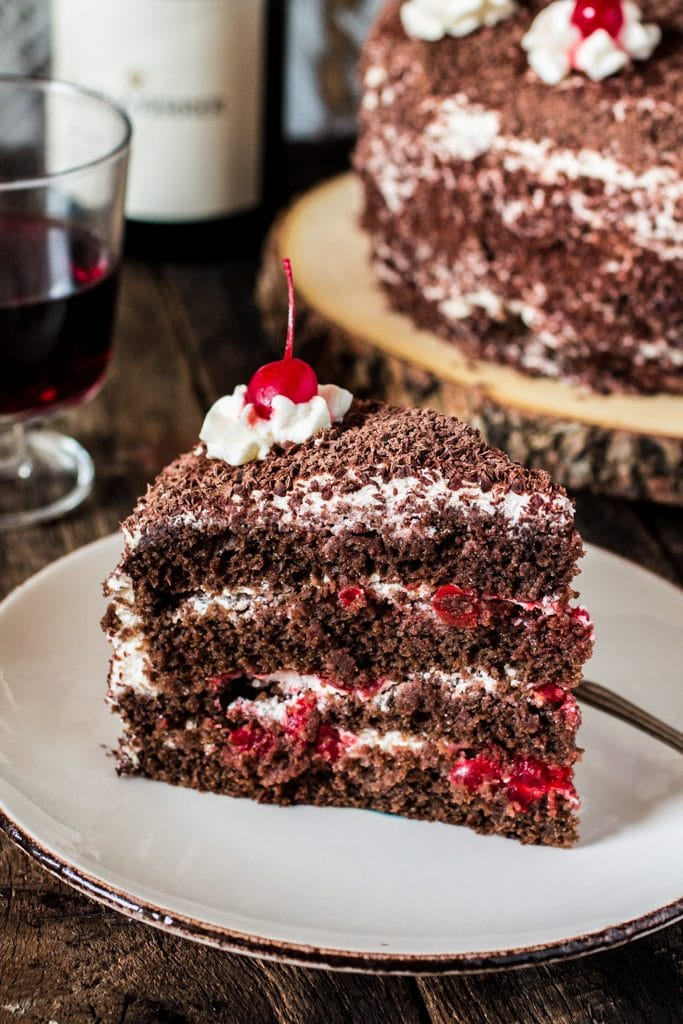 Black Forest Cake | www.oliviascuisine.com | This German classic chocolate cake made with cherries pairs beautifully with a glass of Pinot Noir. #GloriaFerrer #CleverGirls