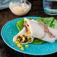 Chipotle Veggie Burger Wrap Sandwich (with Roasted Aioli and Sweet Corn Relish)