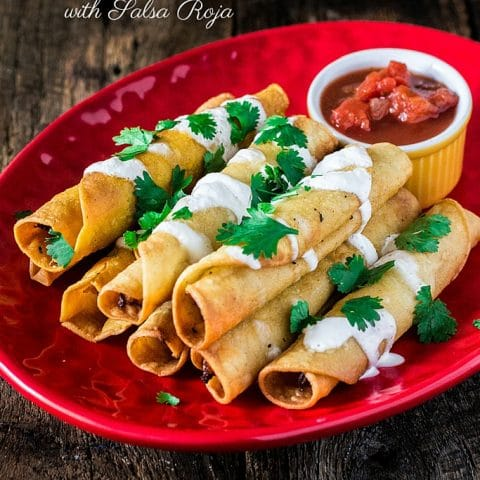 Creamy Chicken Taquitos with Salsa Roja | www.oliviascuisine.com | These chicken taquitos - or flautas, in Spanish - are seriously to die for! Crunchy, creamy and bursting with shredded chicken! The kids will definitely love it ! #sp #DiaDelNino #HerdezKids