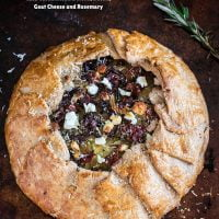 Potato Galette with Caramelized Onions, Bacon, Goat Cheese and Rosemary