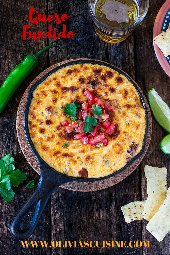 Mexican Queso Fundido with Chorizo | www.oliviascuisine.com | Celebrate Cinco de Mayo with this cheesy and delicious appetizer. You can omit the chorizo for a vegetarian version!