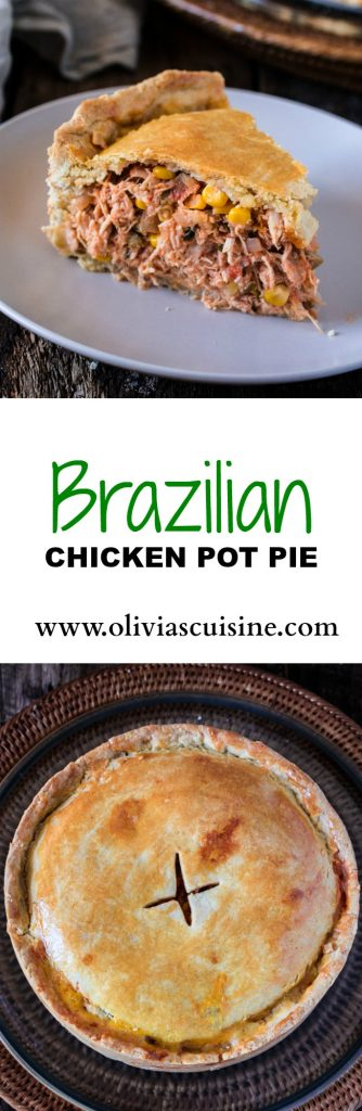 Brazilian Chicken Pot Pie | www.oliviascuisine.com | This classic Brazilian Empadão de Frango will have you going for seconds and even thirds! PACKED with delicious filling and made with a buttery/flaky crust , this dish is guaranteed to impress!