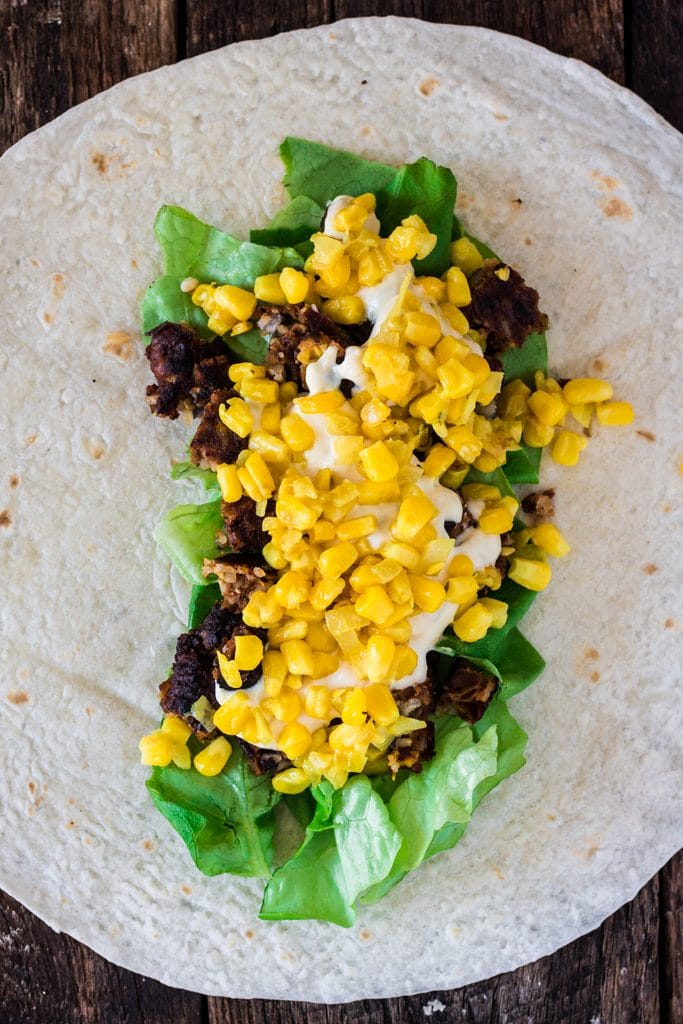 Chipotle Veggie Burger Wrap Sandwich (with Roasted Aioli and Sweet Corn Relish)   www.oliviascuisine.com   #MeatlessMonday made easy with this vegetarian sandwich wrap! Not only nutritious but also very delicious! #OMGardein #sponsored