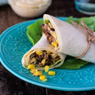 Chipotle Veggie Burger Wrap Sandwich (with Roasted Aioli and Sweet Corn Relish) | www.oliviascuisine.com | #MeatlessMonday made easy with this vegetarian sandwich wrap! Not only nutritious but also very delicious! #OMGardein #sponsored