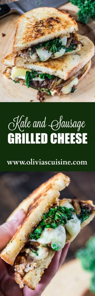 Kale and Sausage Grilled Cheese Sandwich | www.oliviascuisine.com | A kale and sausage twist on a classic grilled cheese.