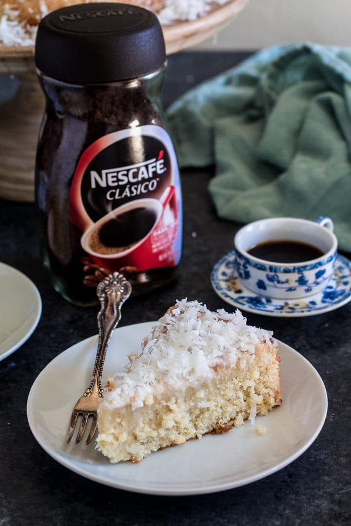 Brazilian Moist Coconut Cake | www.oliviascuisine.com | Nothing like enjoying a piece of cake and a cup of coffee with your family and/or friends after a delicious meal! #MomentoNESCAFÉ #AD