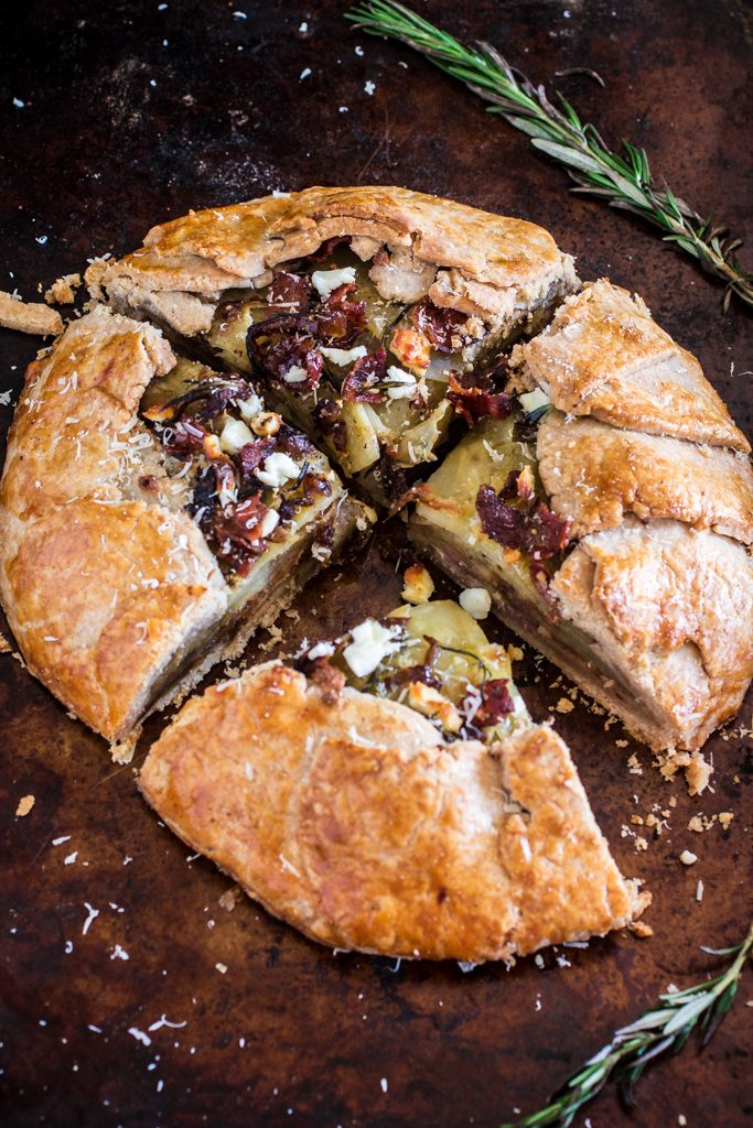 Potato Galette with Caramelized Onions, Bacon, Goat Cheese and Rosemary | www.oliviascuisine.com | Serve this savory rustic tart for brunch, along a nice green salad, and you'll be sure to impress your guests!