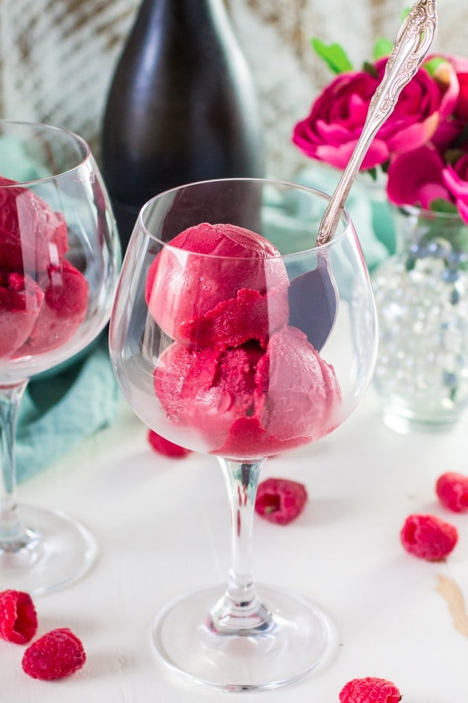 Raspberry Sorbet Bellini | www.oliviascuisine.com | A fun twist on the classic Bellini, made with raspberry sorbet and prosecco. Perfect for Spring and Summer! #VOVETI #CleverGirls