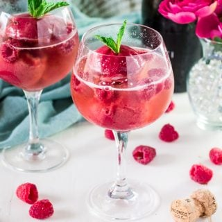 Raspberry Sorbet Bellini   www.oliviascuisine.com   A fun twist on the classic Bellini, made with raspberry sorbet and prosecco. Perfect for Spring and Summer! #VOVETI #CleverGirls
