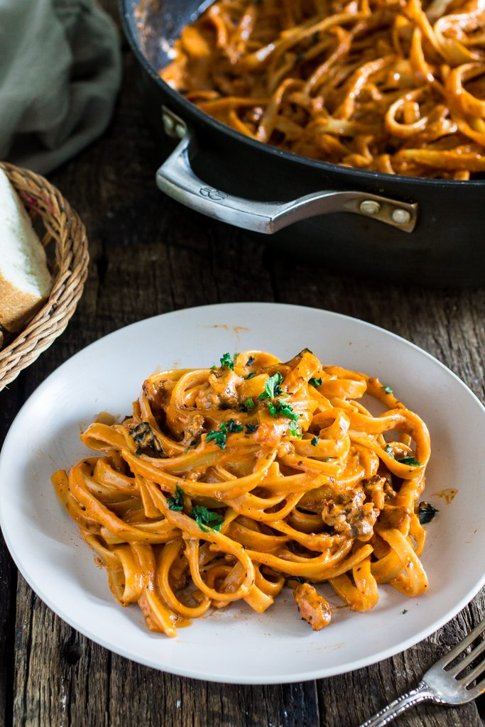 One Pot Creamy Fettuccine with Spicy Sausage | www.oliviascuisine.com | In spite of the long title, this delicious pasta dish is ready in less than 20 minutes! In partnership with the new RAGÚ® Homestyle Thick and Hearty Traditional Sauce.