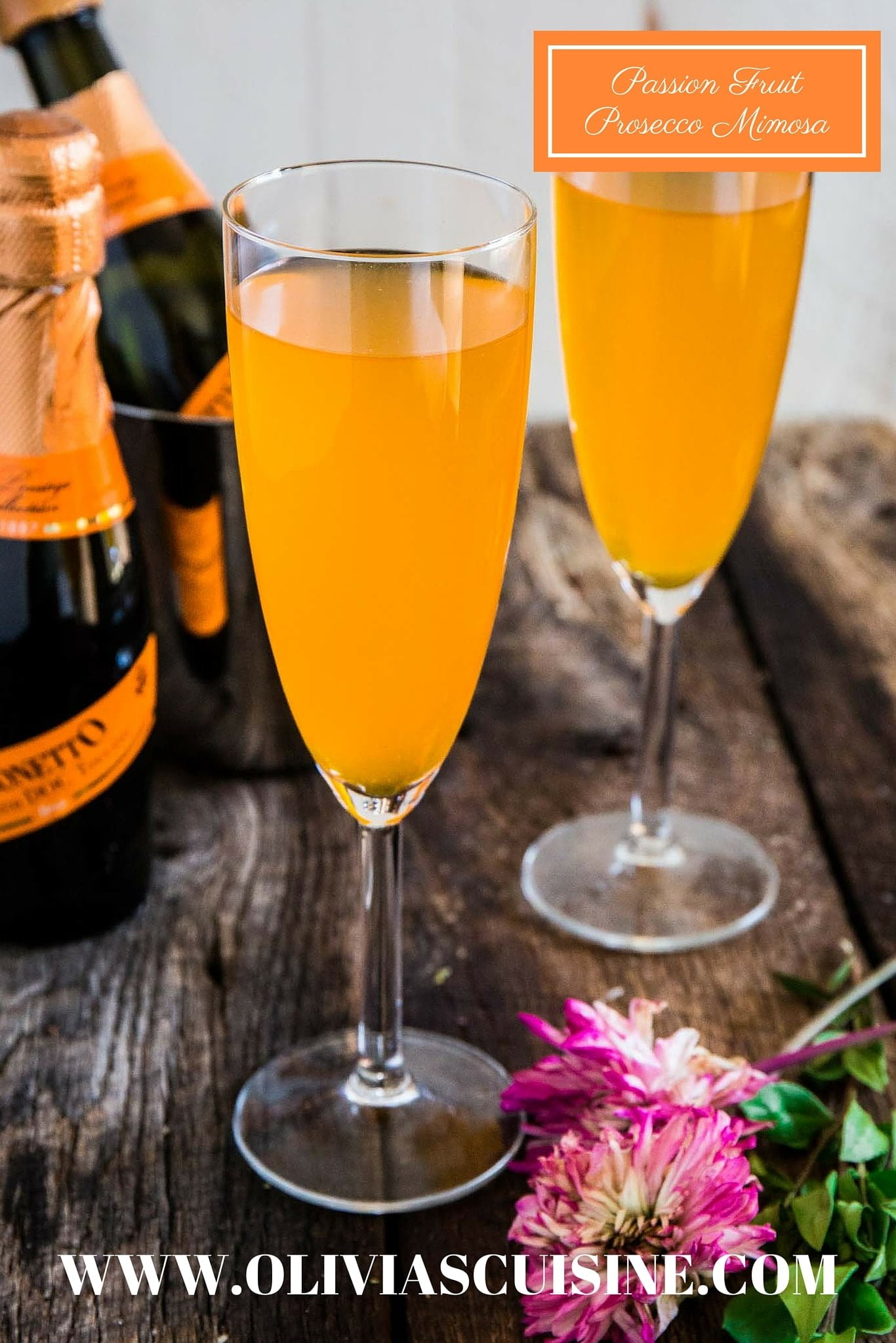 Passion Fruit Prosecco Mimosa | www.oliviascuisine.com | A refreshing and easy cocktail, made with only 2 ingredients: Passion Fruit juice and Mionetto Prosecco! MyMionetto (Msg 4 21+) AD