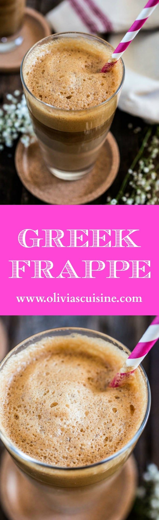 Greek Frappe   www.oliviascuisine.com   The hallmark of outdoor Greek coffee culture, the Frappe is a great caffeinated call for those hot summer days! ☀️ (In partnership with NESCAFÉ Clásico.)