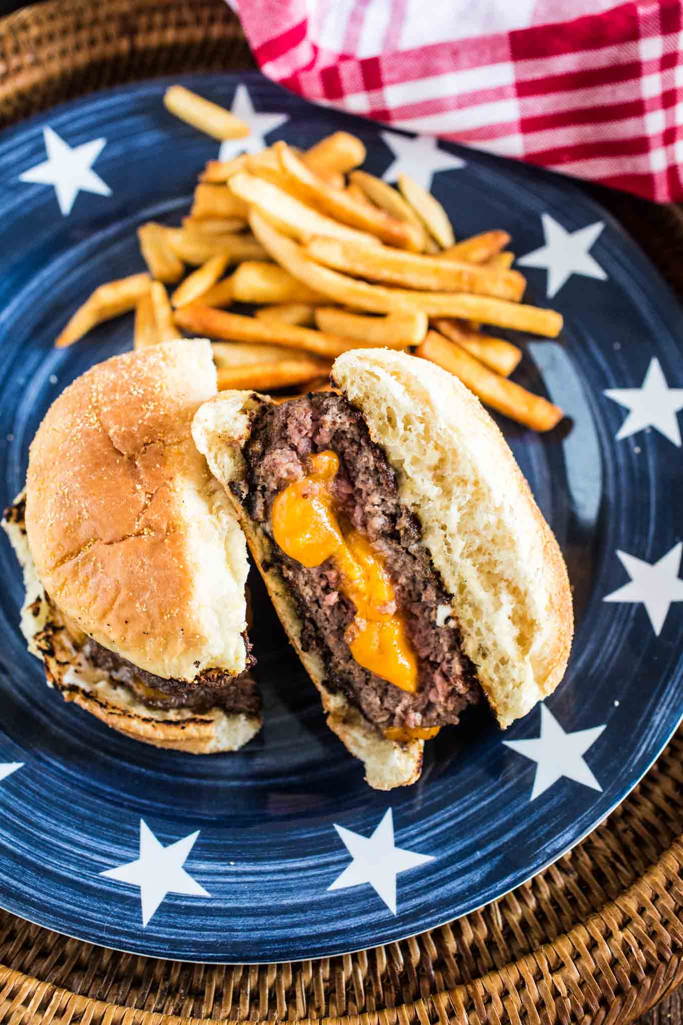 Juicy Lucy Burger | www.oliviascuisine.com | An iconic Minneapolis burger, stuffed with lots of cheese!