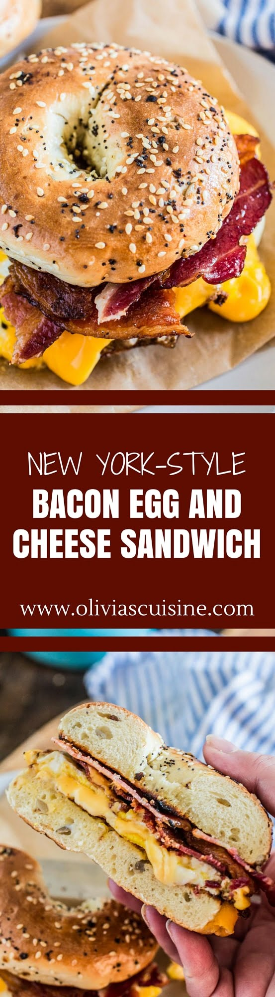 New York-Style Bacon Egg and Cheese Sandwich | www.oliviascuisine.com | The breakfast sandwich that conquered the Big Apple. No true New Yorker starts their day without a delicious and gooey B.E.C!