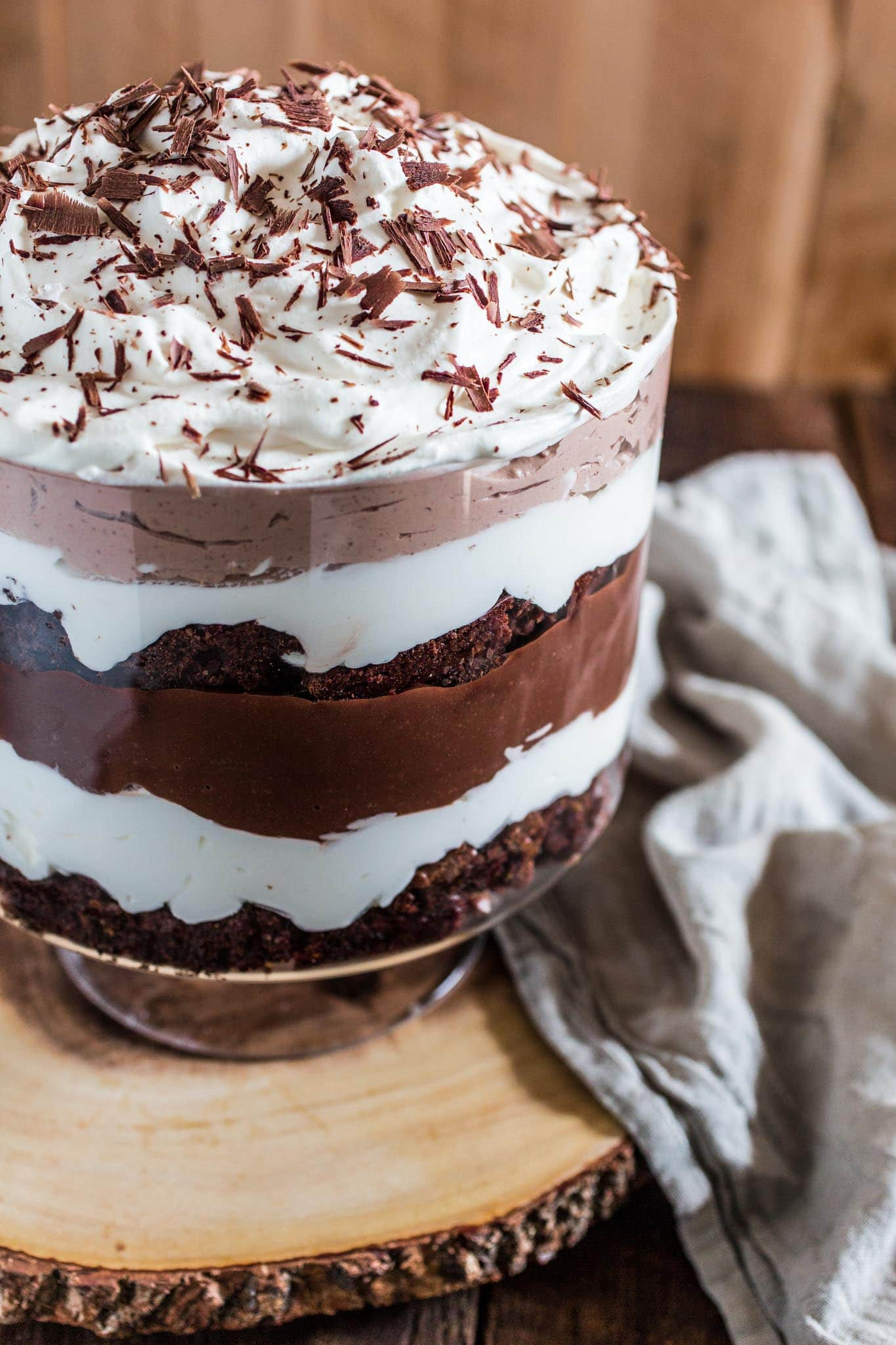 Brownie Trifle | www.oliviascuisine.com | An impressive, easy and rich dessert that feeds a crowd! All you have to do is layer brownies, whipped cream and chocolate pudding. What could be easier than that? :) #ad #mixinmoments