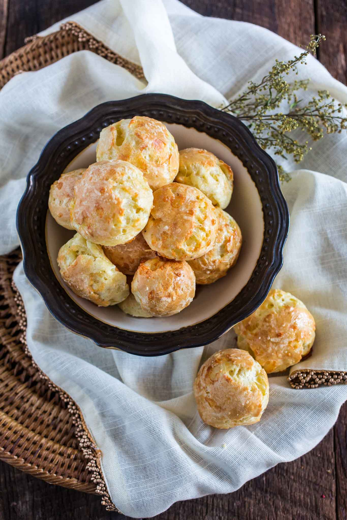 Gougeres (French Cheese Puffs) | www.oliviascuisine.com | A delicate savory hors d'oeuvre made with Gruyere cheese.