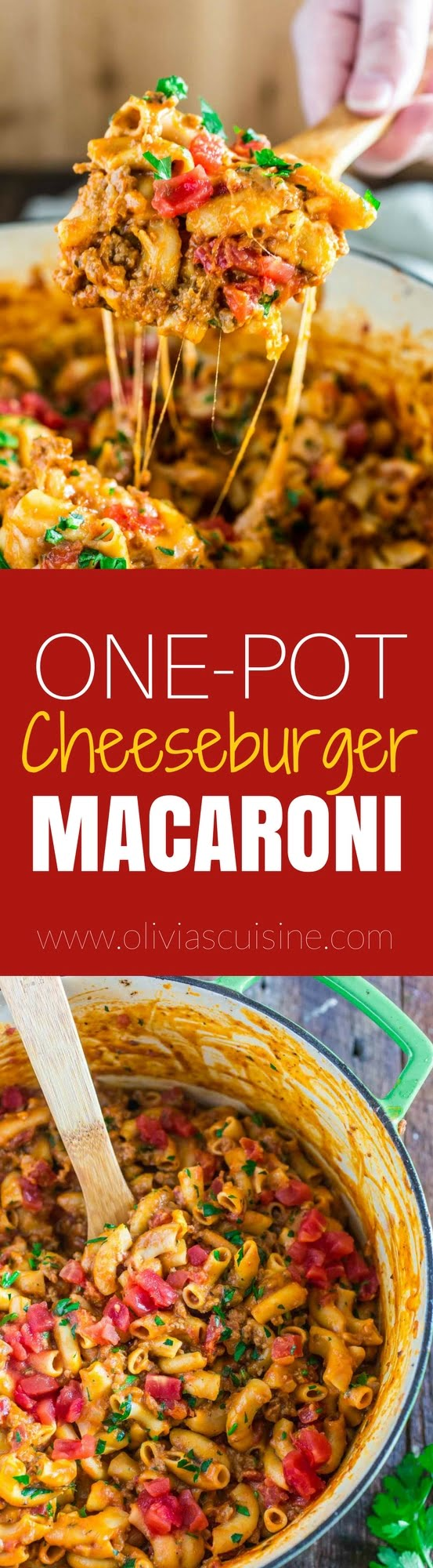 One-Pot Cheeseburger Macaroni | www.oliviascuisine.com | This creamy and ultra cheesy One-Pot Cheeseburger Macaroni is the answer to your prayers: easy, comforting and ready in less than 30 minutes!