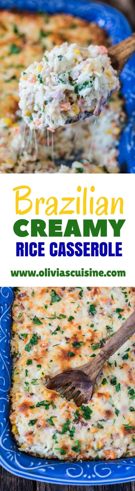 Brazilian Creamy Rice Casserole | www.oliviascuisine.com | This Brazilian Creamy Rice Casserole is not only delicious but VERY easy and quick to prepare. It is ready in 20 minutes and is a great way to use up the leftovers in your fridge!