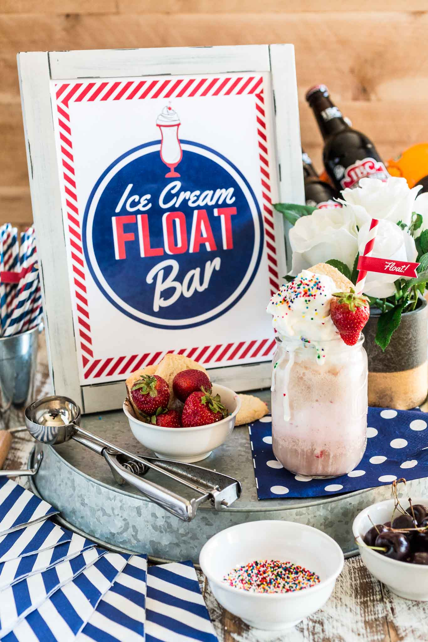 Ice Cream Float Bar | www.oliviascuisine.com | How fun would it be to set up a retro Ice Cream Float Bar at your next party? Not only is it entertaining for the kiddos, but the grown ups will love to relive their childhoods!