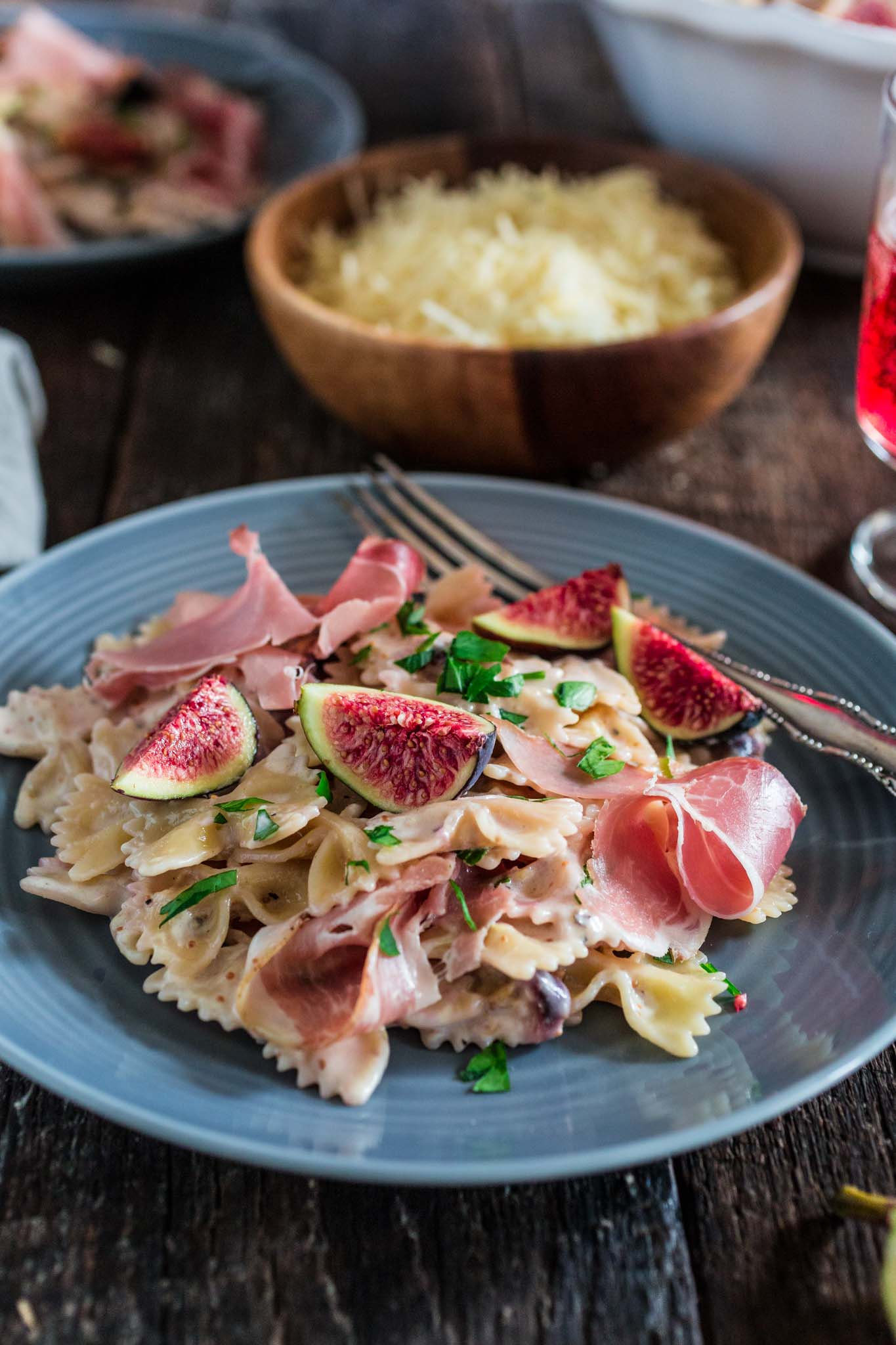 Farfalle with Fresh Figs and Prosciutto | www.oliviascuisine.com | A delicious and easy pasta dish using the sweetest, seasonal figs and salty prosciutto. If you could eat summer, this would be it!