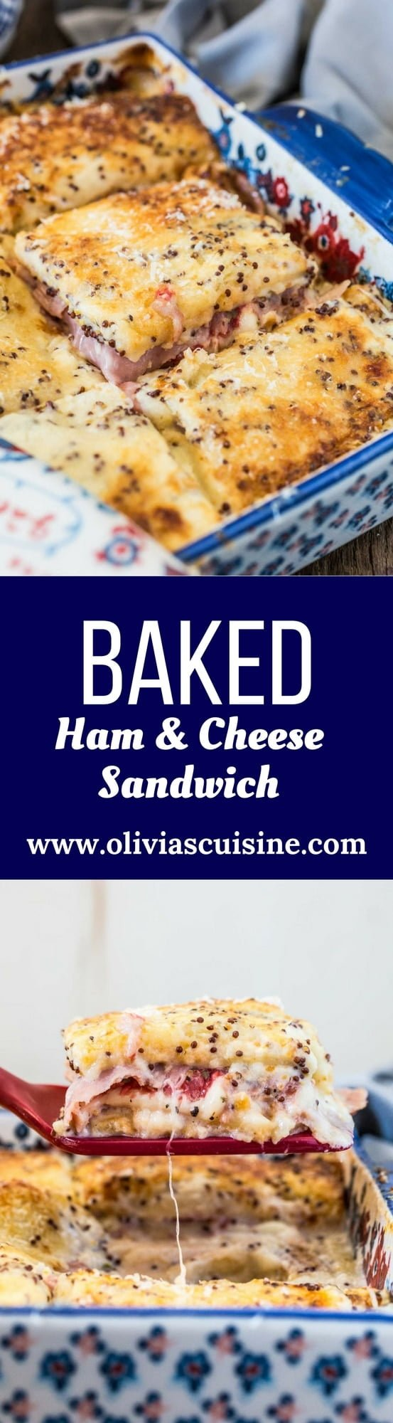 Brazilian Baked Ham and Cheese Sandwich | www.oliviascuisine.com | Who can resist a bubbly Baked Ham and Cheese Sandwich coming hot out of the oven? This Brazilian version takes it up a notch, because the sandwiches are covered with a delicious and creamy mustard-y white sauce. Simply to die for!