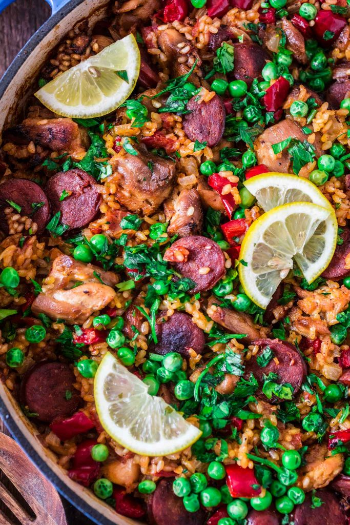Chicken and Chorizo Paella | www.oliviascuisine.com | This twist on a classic Spanish paella is the perfect one pot dinner for busy nights. Hearty, comforting and with a latin kick!