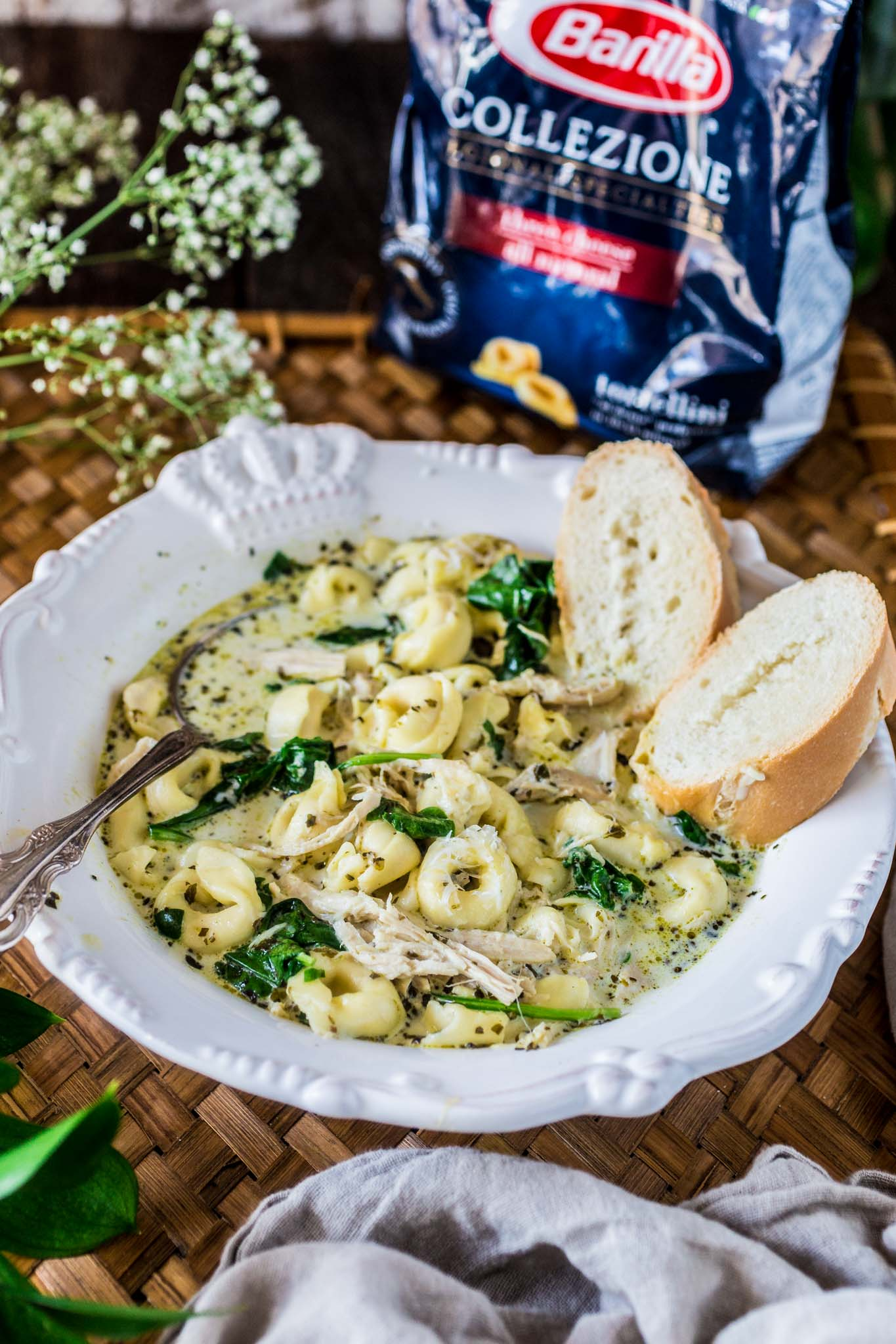 Creamy Chicken Tortellini Soup | www.oliviascuisine.com | You won't believe how easy this Creamy Chicken Tortellini Soup is! Hearty, comforting and made in the slow cooker. It really doesn't get easier than that!
