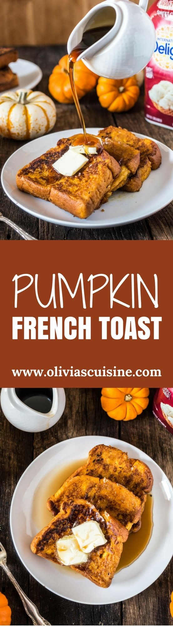 Pumpkin French Toast   www.oliviascuisine.com   This Pumpkin French Toast is the perfect Fall breakfast! Easy, delicious and coated in everybody's favorite autumnal ingredient: pumpkin, of course.