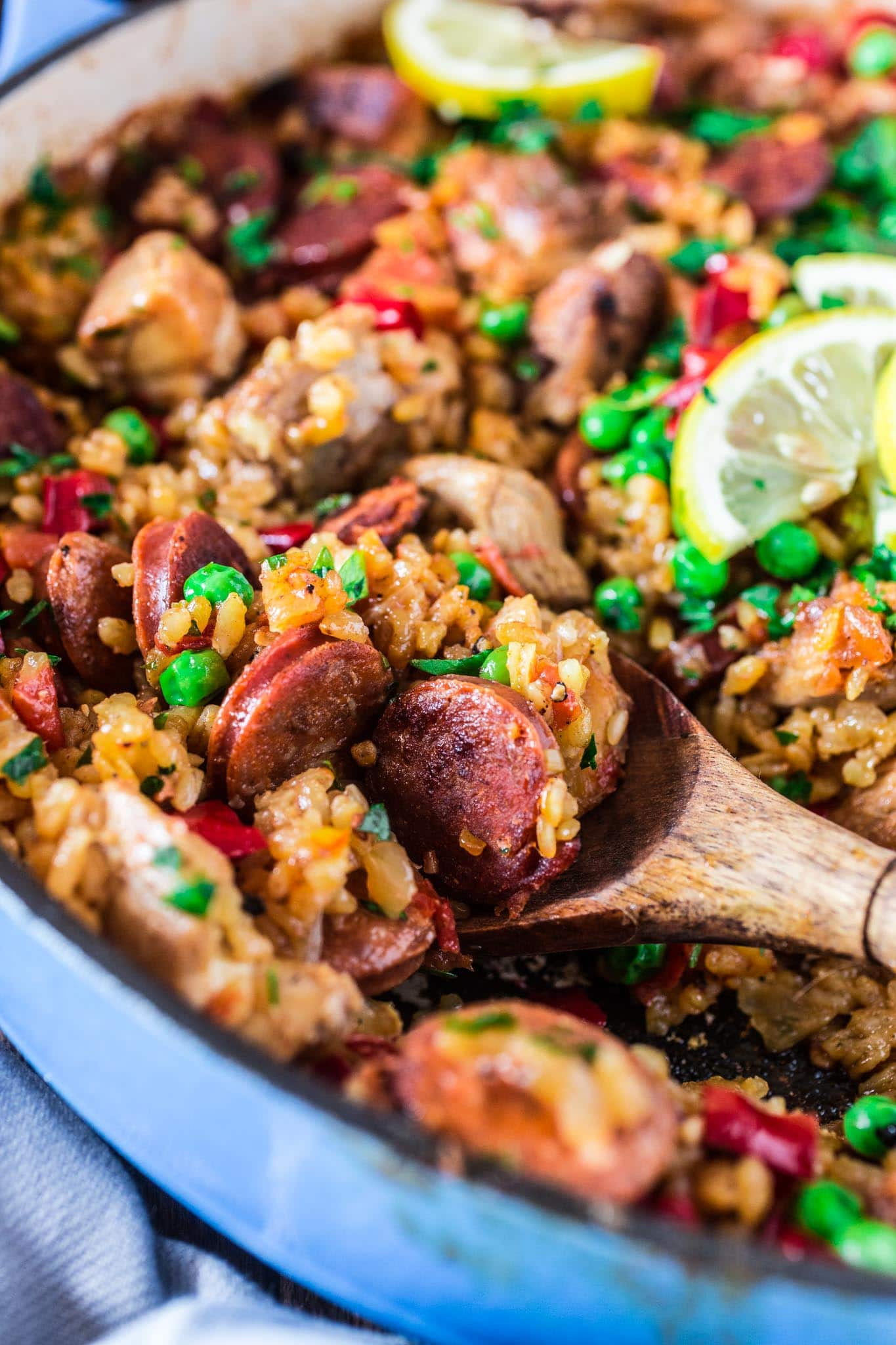 Chicken and Chorizo Paella | www.oliviascuisine.com | A Chicken and Chorizo Paella might sound like a very ambitious project, but once you realize how easy and quick it is, you will be making it over and over again. Pair it with a bottle of Garnacha Wine and you're all set for success!
