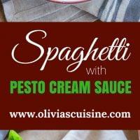 Spaghetti with Pesto Cream Sauce, Fresh Tomatoes and Mozzarella