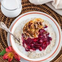 Christmas Oats Porridge with Cranberry Sauce, Apples and Pecans