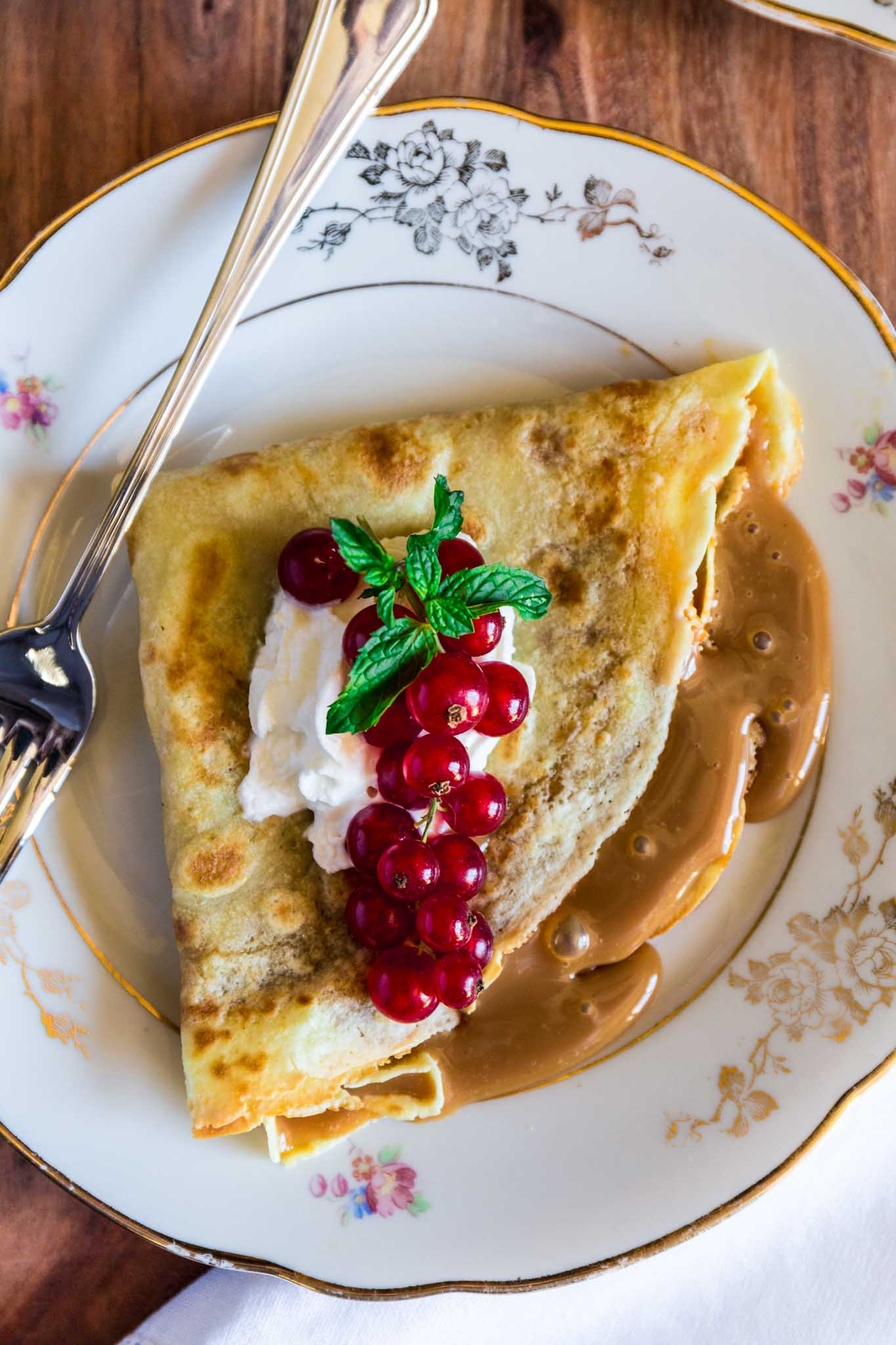 Dulce de Leche Crepes | www.oliviascuisine.com | A simple and easy Argentinian dessert, made even quicker when you use store bought dulce de leche.