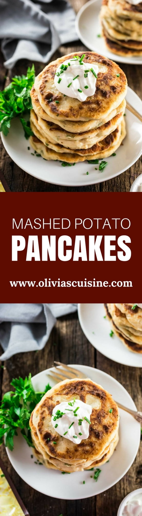 "Mashed Potato Pancakes | www.oliviascuisine.com | Crisp and tender buttery Mashed Potato Pancakes are the perfect start for your Thanksgiving holiday! Made with just a few basic ingredients and ready in less than 20 minutes. Because ""delicious yet easy"" is my holiday motto!"