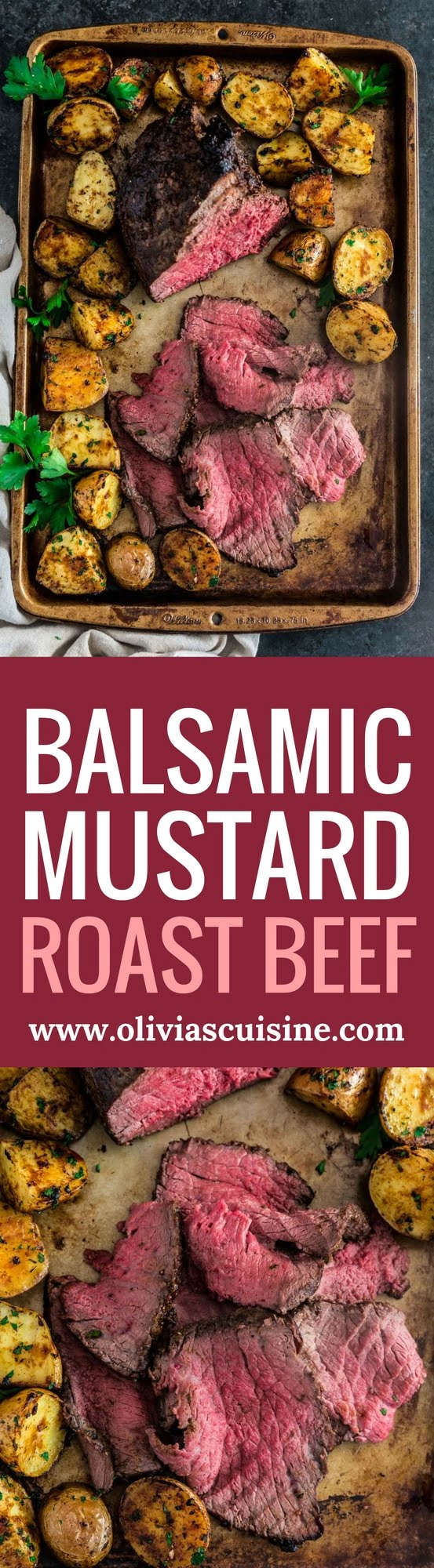 Balsamic Mustard Roast Beef | www.oliviascuisine.com | No holiday table is complete without a beautiful centerpiece roast beef. Glazed with balsamic mustard, this version is both simple and impressive. It will quickly become your go-to recipe for any special occasion!
