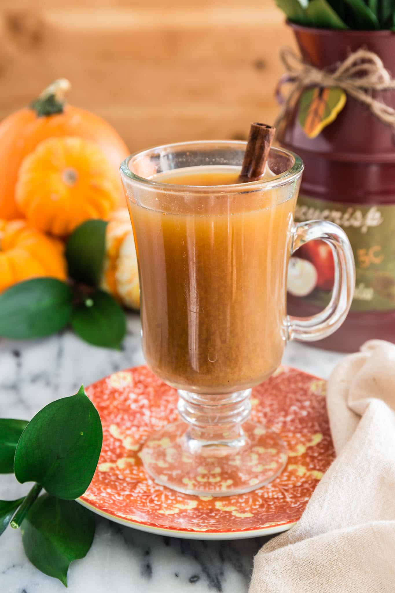 Slow Cooker Pumpkin Spiced Cider | www.oliviascuisine.com | All the cozy flavors of Fall in one drink! Made in the slow cooker, this delicious Pumpkin Spiced Cider will lift your spirits and make your house smell like happiness!