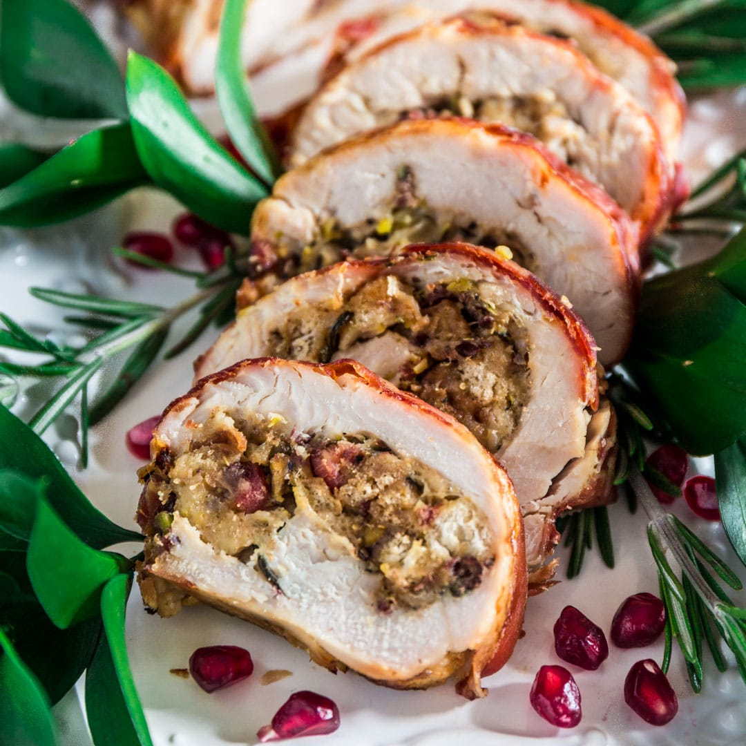 Prosciutto Wrapped Turkey Roulade With Pomegranate Port Reduction Sauce Olivia S Cuisine