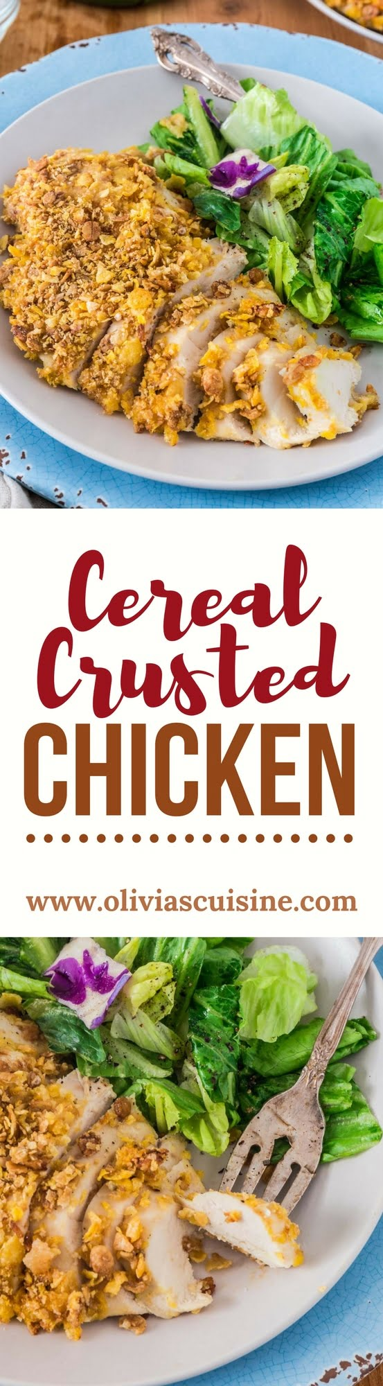 Cereal Crusted Chicken | www.oliviascuisine.com | Looking for fun but healthy chicken dinner options for the family? This Cereal Crusted Chicken is the answer! Juicy, amazingly crunchy and slightly sweet from the Honey Bunches of Oats®, it will definitely be a hit with the kids.