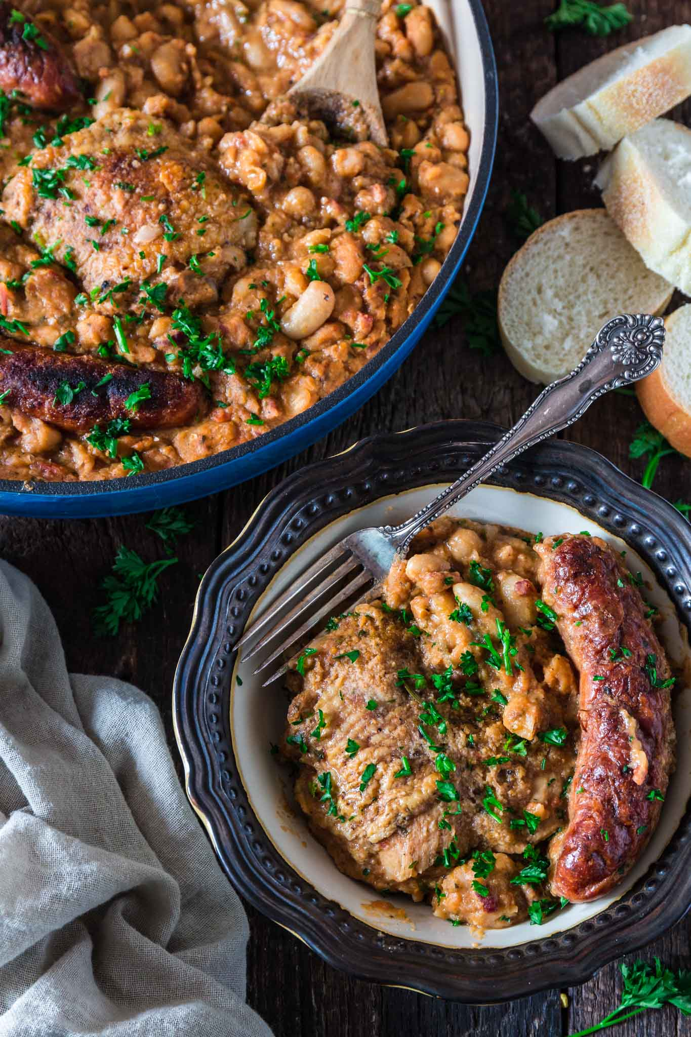 Sausage and Chicken Cassoulet | www.oliviascuisine.com | Inspired by the traditional French dish, this Sausage and Chicken Cassoulet is rich, hearty and perfect for cold winter days. It can be a labor of love, but - believe me - it is so worth it!