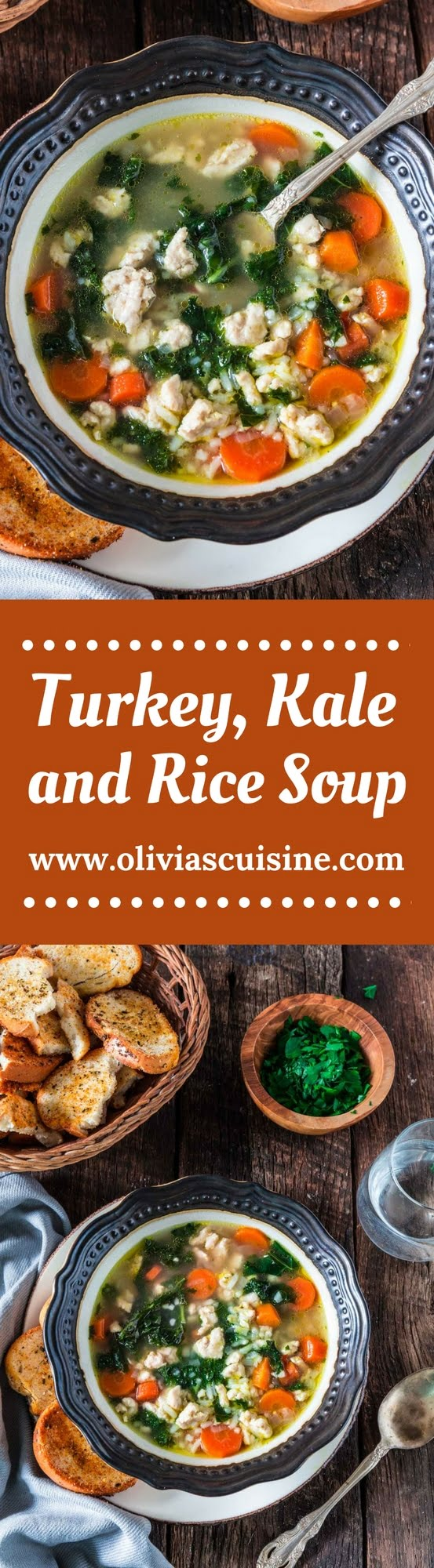 "Turkey, Kale and Rice Soup | www.oliviascuisine.com | Nothing warms you up like a cozy bowl of Turkey, Kale and Rice Soup! Loaded with nutrients and low in fat, so you can stay true to your ""eating healthy"" New Year resolutions. (Sponsored by @JennieO.)"