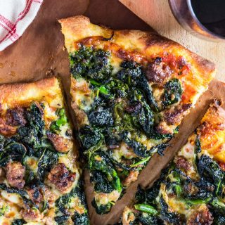 Turkey Sausage and Broccoli Rabe Pizza | www.oliviascuisine.com | This Turkey Sausage and Broccoli Rabe Pizza is one of the best pizzas you will ever taste. The slightly bitter and peppery broccoli rabe combined with the smokiness of the provolone cheese and the subtle sweetness from the turkey sausage create an explosion of flavor that will wow even those who turn their noses at broccoli rabe. You simply must try this! (Recipe by @oliviascuisine).