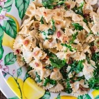 Farfalle with Pancetta, Arugula and Lemon Cream Sauce