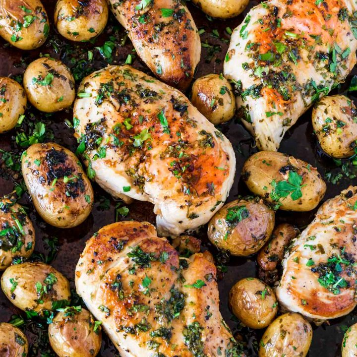 Sheet Pan Chicken with Spicy Potatoes (Batata Harra)