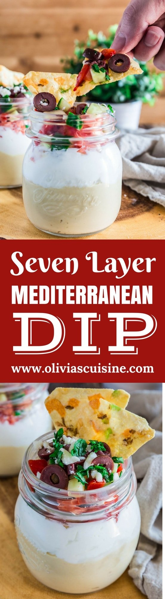Seven Layer Mediterranean Dip | www.oliviascuisine.com | Light, healthy and perfect for entertaining during the warm weather, this Seven Layer Mediterranean Dip is filled with all the greek flavors we all love: hummus, Greek yogurt, veggies, feta and olives. I like to serve it in individual cups so it stays fresh and nobody needs to worry about double dippers! 😉 (Recipe by @oliviascuisine.)