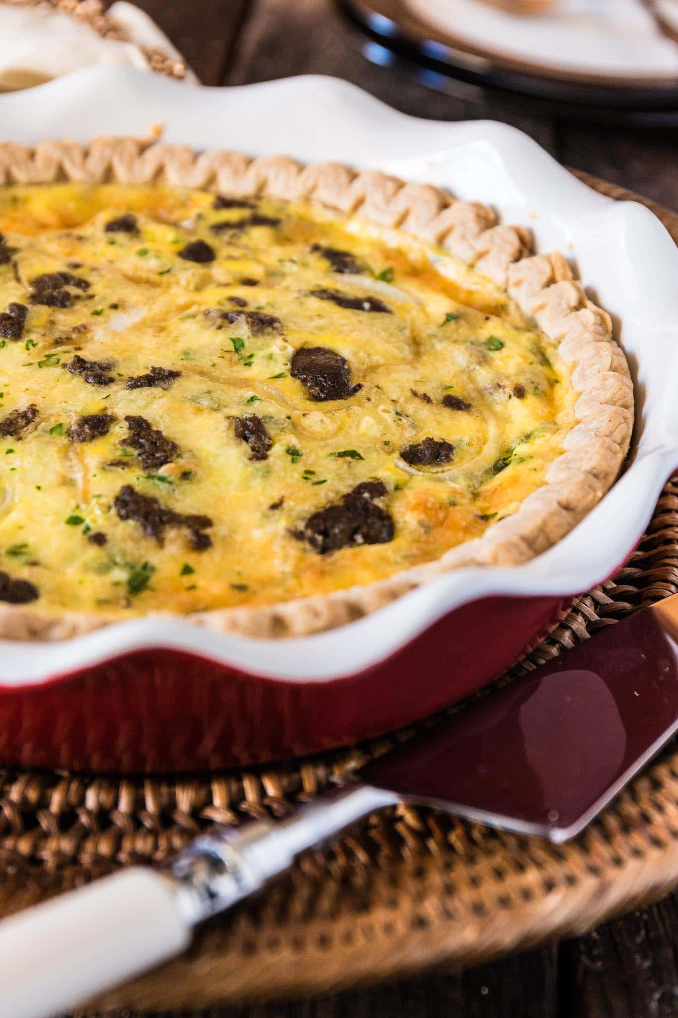 Turkey Sausage and Smoked Gouda Quiche | www.oliviascuisine.com | Easy and delicious, this Turkey Sausage and Smoked Gouda Quiche is the perfect dish for when you need to come up with something special for a last minute casual gathering, like breakfast or brunch with friends.