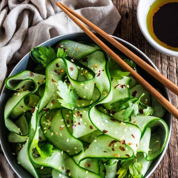 Thai Cucumber Salad with Sesame Ginger Dressing