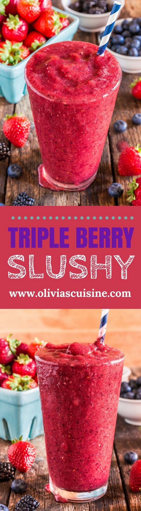 Triple Berry Slushy | www.oliviascuisine.com | Homemade, healthy and - wait for it! - sugar free, this Triple Berry Slushy will be your new summer obsession. Made with a handful of ingredients and summer bikini friendly! (Recipe by @oliviascuisine.)