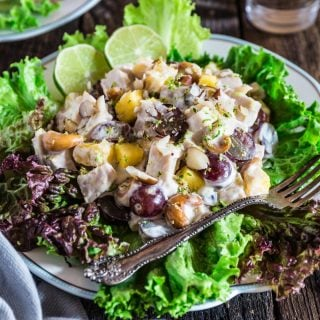 Pineapple Grape Turkey Salad | www.oliviascuisine.com | This delicious tropical twist on a creamy turkey salad makes this the summer salad nobody can resist! Perfect in sandwiches, spread on crackers or just as is. (Recipe and food photography by @oliviascuisine.)